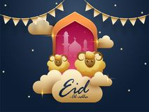 Muslim community festival  Eid Al Adha celebration greeting card. Design with illustration of sheep in front of mosque on night view background decorated with Stock Image
