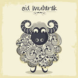 Muslim community festival, Eid Mubarak celebration with sheep. Royalty Free Stock Photos