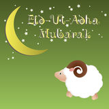 Muslim community festival of sacrifice Eid Ul Adha greeting card, background with sheep moon and stars. Stock Photography