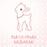 Muslim community festival of sacrifice Eid-Ul-Adha. Greeting card with lamb. Vector illustration Royalty Free Stock Image