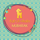 Muslim community festival of sacrifice Eid-Ul-Adha. Greeting card with lamb. Vector illustration Royalty Free Stock Photo