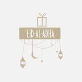 Muslim community holiday eid al-adha greeting card. Muslim community festival Eid al Adha Mubarak  greeting card with ramadan lanterns, moon and stars Royalty Free Stock Image