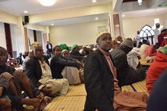 Muslim congreation  in a Kenyan mosque Royalty Free Stock Image