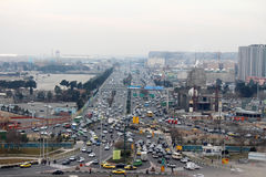 Muslim country picture taken from Azadi tower. Persian city aroud Azadi Square on december stock photo