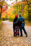 Muslim couple during autumn season Stock Images