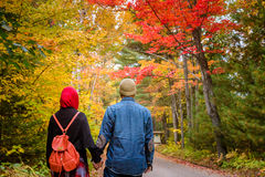 Muslim couple during autumn season Royalty Free Stock Photo
