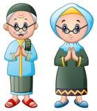 Muslim couple greeting cartoon isolated on white background Royalty Free Stock Photo