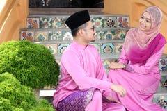 Muslim couple. With greeting hari raya Stock Image