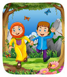 Muslim couple holding hands in the forest. Illustration Royalty Free Stock Photo