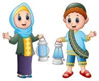 Muslim couple kid waving hand with holding lantern. Illustration of Muslim couple kid waving hand with holding lantern royalty free illustration