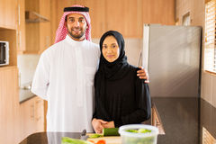 Muslim couple kitchen Stock Image
