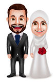 Muslim couple vector characters as bride and groom wearing hijab. And white wedding dress and black tuxedo isolated in white background. Vector illustration vector illustration