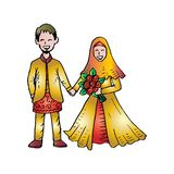 Muslim couple wedding card. White Background vector illustration