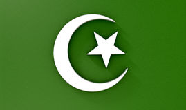 Muslim Crescent Moon And Star. A metal islamic crescent moon and star on a green textured background Stock Photos