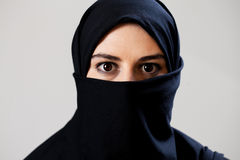 Muslim with dark eyes Royalty Free Stock Photography