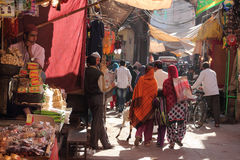 Muslim devotees going through the crowded street Stock Images
