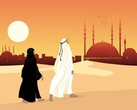 Muslim devotees walking across sand to a Muslim city with mosque at sunset vector illustration
