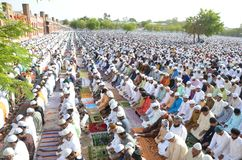 Eid Prayer. Muslim devotees offering prayer on the occasion of Eid in Bhopal on saturday,18th June 2018 stock photo