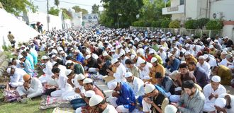 Eid Prayer in Bhopal, India. Muslim devotees offering prayer on the occasion of Eid in Bhopal on saturday,18th June 2018 stock images