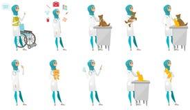 Muslim doctor vector illustrations set. Stock Images