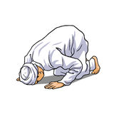 Muslim Doing Salah. Salat, Shalat, Sholaat, Sujud Vector Illustration Stock Image