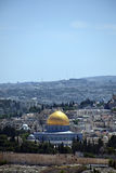 Dome of the Rock. The Muslim Dome of the Rock behind the old Jerusalem surrounding city wall ass seen from Mount of Olives. Israel Stock Photos