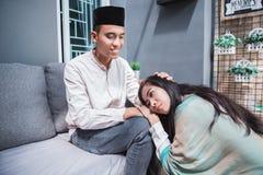 Muslim eid mubarak forgiving others. Family embracing each other during eid mubarak celebration. Forgiving royalty free stock images