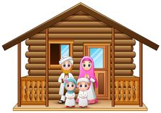 Muslim families cartoon in the wooden house Stock Images