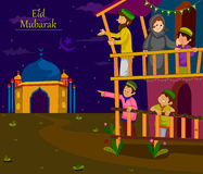 Muslim families wishing Eid Mubarak,Happy Eid on Ramadan. In vector Stock Photos