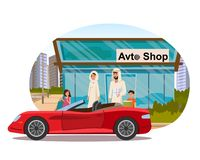 Muslim Family Buying Auto Flat Vector Concept stock illustration