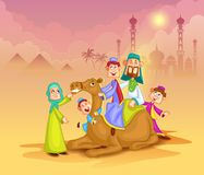 Muslim family on camel ride celebrating Eid. In vector Stock Photography