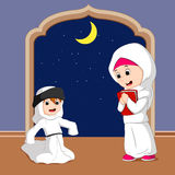 Muslim family cartoon Royalty Free Stock Images