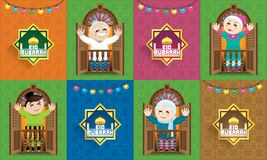 A Muslim family celebrating Raya festival, with colourful Malay motif background. stock illustration