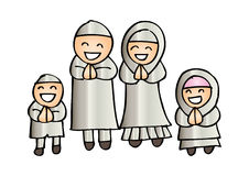 Muslim family. Cute cartoon muslim family in traditional costume Stock Images