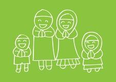 Muslim family. Cute cartoon muslim family in traditional costume Royalty Free Stock Image