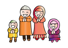 Muslim family. Cute cartoon muslim family in traditional costume Stock Image