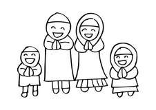 Muslim family. Cute cartoon muslim family in traditional costume Royalty Free Stock Photos