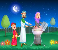 Muslim family doing barbeque. On Eid in vector vector illustration