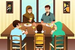 Muslim Family Eating Dinner at Home vector illustration