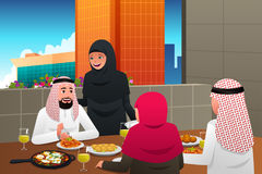 Muslim Family Eating at Home vector illustration