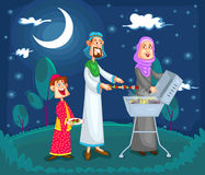 Muslim family enjoying barbeque. In vector royalty free illustration