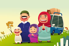 Muslim Family Going Home to Celebrate Eid Al Fitri vector illustration