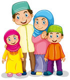 Muslim family. Happy muslim family in traditional costume vector illustration