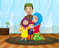 Muslim family in the house Stock Image