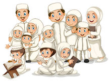 Muslim family. Large muslim family in white costume royalty free illustration
