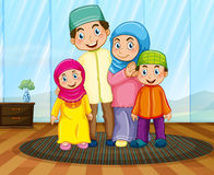 Muslim family in the living room Royalty Free Stock Photos
