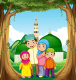 Muslim family at the mosque Stock Photo