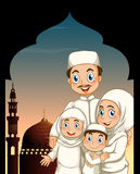 Muslim family by the mosque Royalty Free Stock Photos