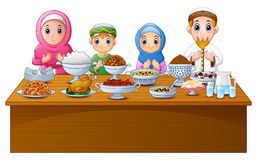 Muslim family pray together before break fasting. Illustration of Muslim family pray together before break fasting Royalty Free Stock Photography