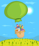 Muslim family riding air balloon Royalty Free Stock Images